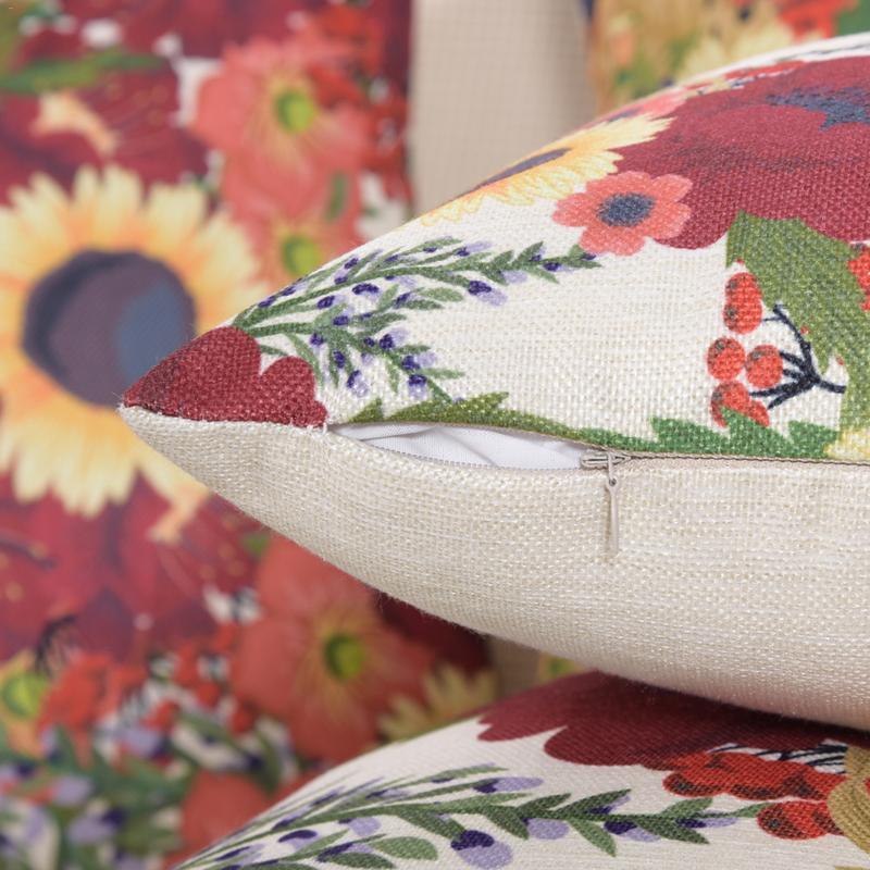Nordic Sofa Pillowcase Linen Cotton And Linen Sunflower Printed Bright Pillowcase Home Decoration Hotel Sofa Pillowcase