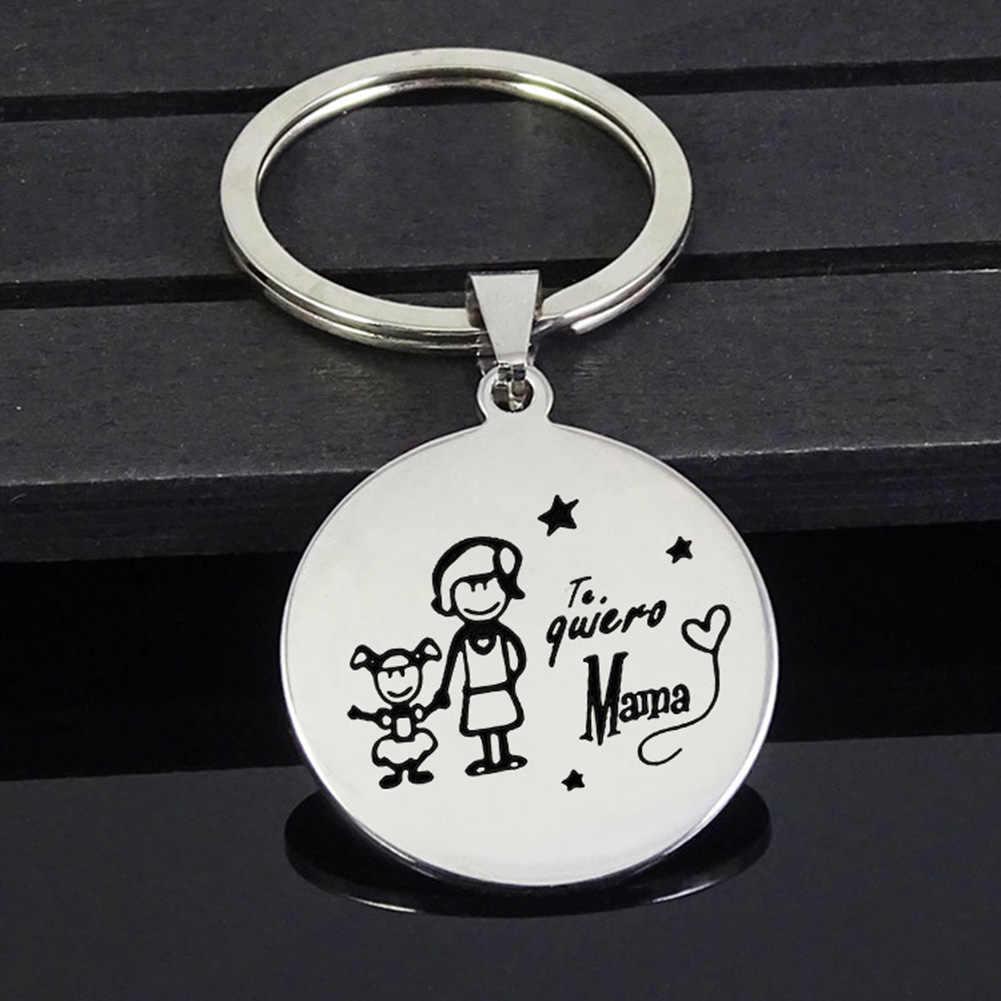 ครอบครัวพ่อแม่ลูกสาวพวงกุญแจสัตว์เลี้ยงวันครูของขวัญสแตนเลสที่ดีที่สุดครูพวงกุญแจแม่พ่อเด็ก Key โซ่