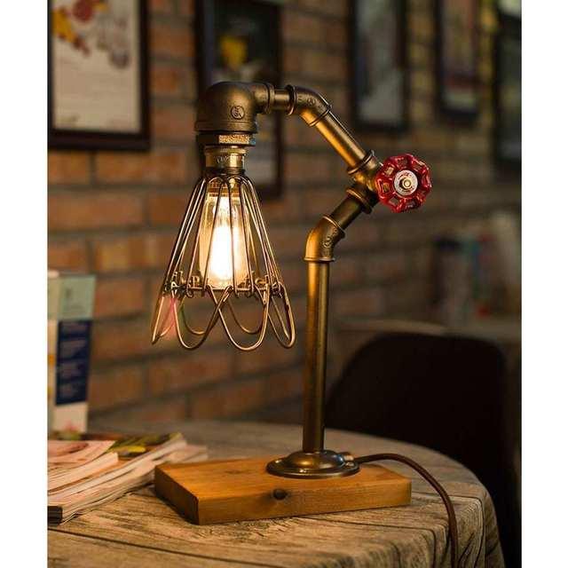 Accesorios de tubería de agua iluminación lámpara Industrial válvula de parada interruptor de luz para lámpara Steampunk Loft estilo hierro válvula Vintage lámpara de mesa