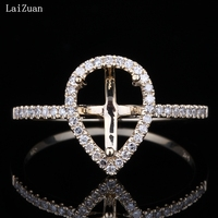 LaiZuan Pear Cut 8x6.5mm Semi Mount Engagement Ring Setting Real 10k Yellow Gold Certified Round Diamond Ring Women Gift Jewelry