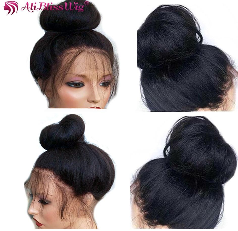 Kinky Straight 360 Lace Frontal Wigs For Women Italian Yaki Lace Front Human Hair Wigs Brazilian Remy Hair Full End Aliblisswig