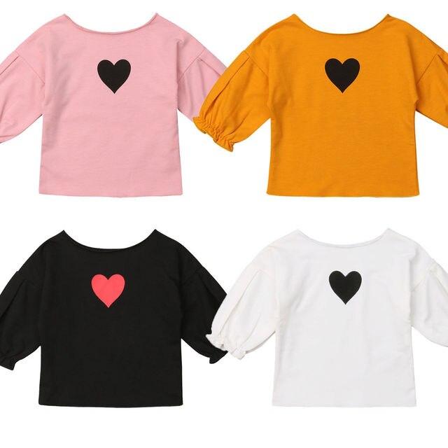 חדש Arrivel פעוט תינוקות ילדים תינוקת לב הדפסי פרע חולצה בגדי תלבושות סטים