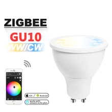 10pcs/Set ZIGBEE ZLL WWCW Spotlight,5WGU10,CCT Adjustable lamp cup,APP control Dual White,dimmable,AC110V-240V,Beam angle 30 deg