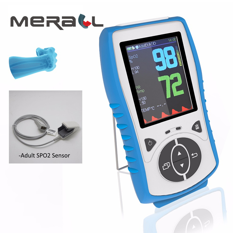 Adult Sensor Handheld Pulse Oximeter With Temperature Probe Blood Oxygen Monitor Pulse Blood Oximetro CE Approval