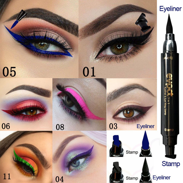 Evpct Double-Head Liquid Eyeliner with Stamp Eye Pencil Waterproof Seal Makeup Eye Liner Blue Black Brown maquiagem TSLM1 1