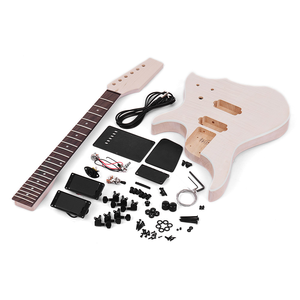 Muslady Unfinished Diy Electric Guitar Kit Basswood Body Maple Guitar Neck Rosewood Fingerboard With Tremolo Bridge Emergency Kits