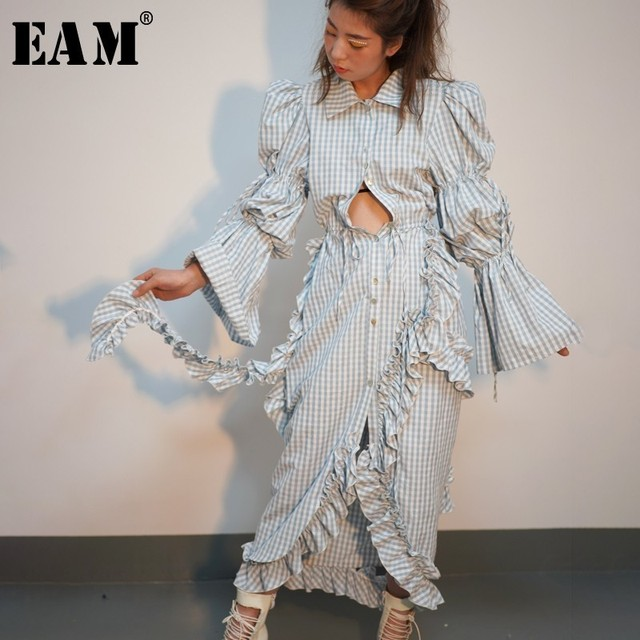 [EAM] 2019 New Spring Summer Lapel Long Lantern Sleeve Blue Plaid Printed Ruffles Stitch Irregular Dress Women Fashion JO176