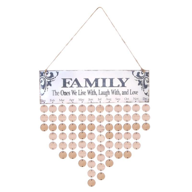 Tabla de calendario de cumpleaños de madera DIY familia recordatorio de fecha especial 2019 planificador tablero colgante calendario decoración del hogar regalos