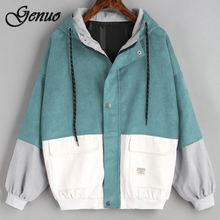 Outerwear & Coats Jackets Long Sleeve Corduroy Patchwork Oversize Zipper Jacket Windbreaker coats and jackets women 2019 цена и фото