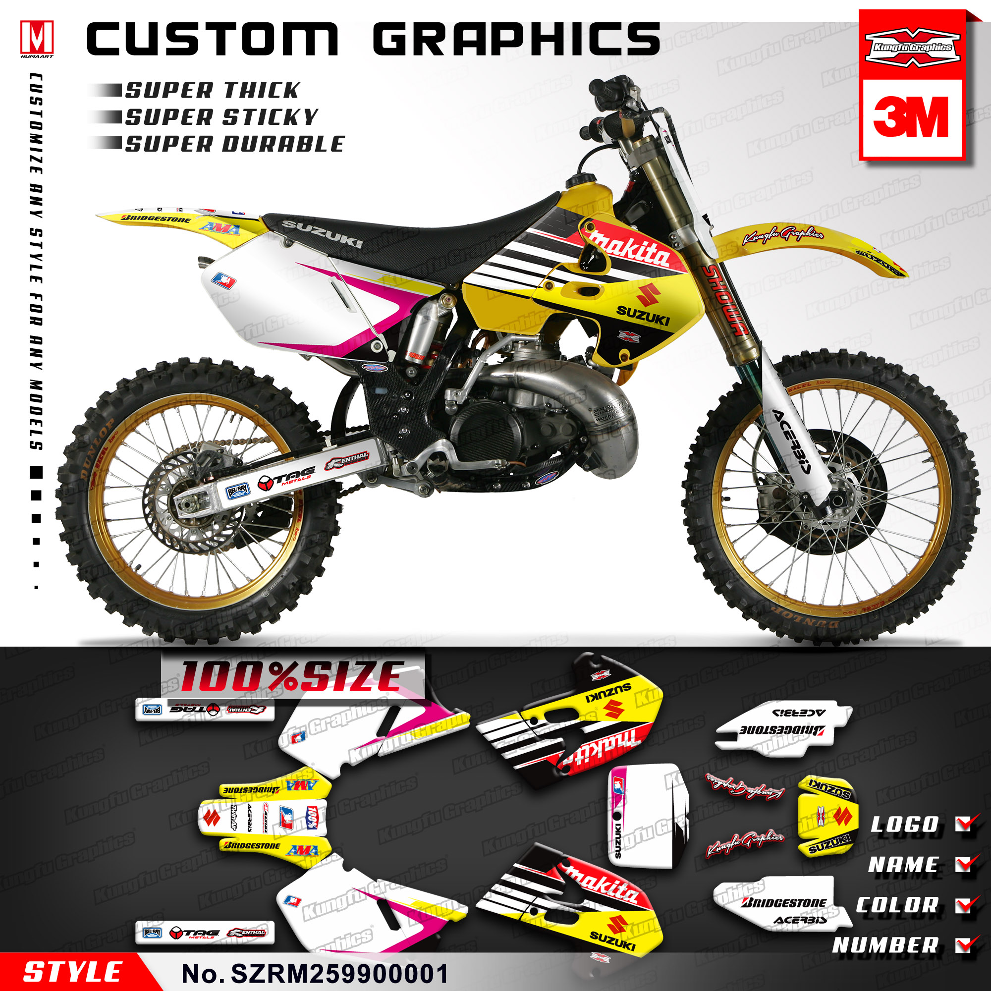 US $129 89 |KUNGFU GRAPHICS Motocross Custom Vinyl Stickers Decals Kit for  Suzuki RM 125 250 RM125 RM250 1999 2000 (Style no  SZRM259900001)-in Decals