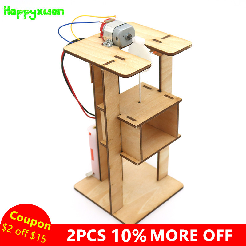 Happyxuan DIY Electric Lift Elevator Kids Science Toys Experiment Kits Boy Toy Creative STEM Education Innovation School Project