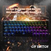 GK64 64 Key Gateron Switch Mechanical Keyboard Geek Hot Swappable CIY Switch RGB Backlit Mechanical Gaming Keyboard