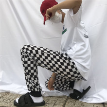 Casual Retro Style Black And White Plaid Pants New Fashion Street Men Women INS Checkered Korean Straight Trousers