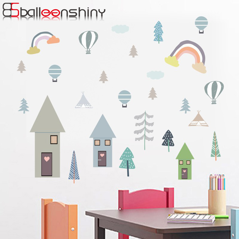 Balleenshiny Cartoon Forest Trees DIY Wall Sticker Lovely Nordic Style Kids Room Nursery Dorm Mural Decals Cabinet Fridge Decor
