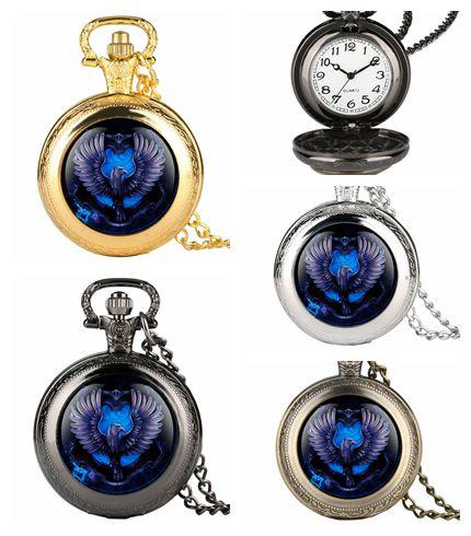 Necklace Quartz Analog Pocket Watch For Men Bule Eagle Pattern Pocket Watches For Teenager Novel Antique Pocket Watch For Boys