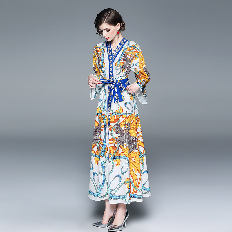 c6497b757d0 2019 Spring Summer Women Plus Size Runway Dress Laces Chains Angels Long  Sleeve Maxi Dress White Blue Gold Print Horses Soldiers-in Dresses from  Women s ...