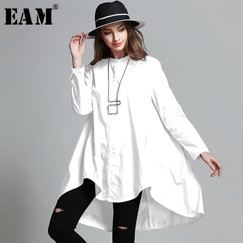 Женская рубашка EAM, однотонная, с длинным рукавом и о-вырезом, 2019