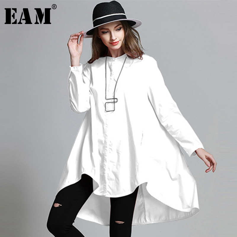 [EAM]2020 Spring  Woman Stylish Solid Color Long Sleeve O-neck Single Breasted Irregular Loose Shirt All Match LE706
