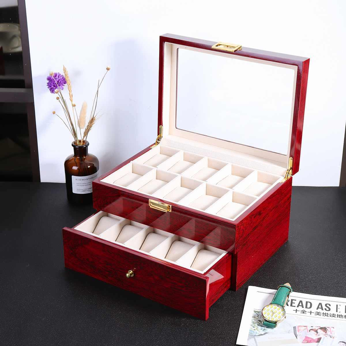 Luxury 10/20 Grids Wrist Watch Display Box Storage Holder Organizer Watch Case Jewelry Display Watch Box Wooden