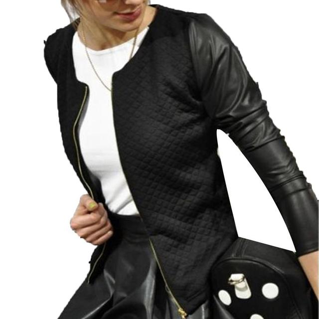 Women Fashion Winter Round Neck Long Regular Sleeve Patchwork Black, White Autumn, Jacket Zipper Casual