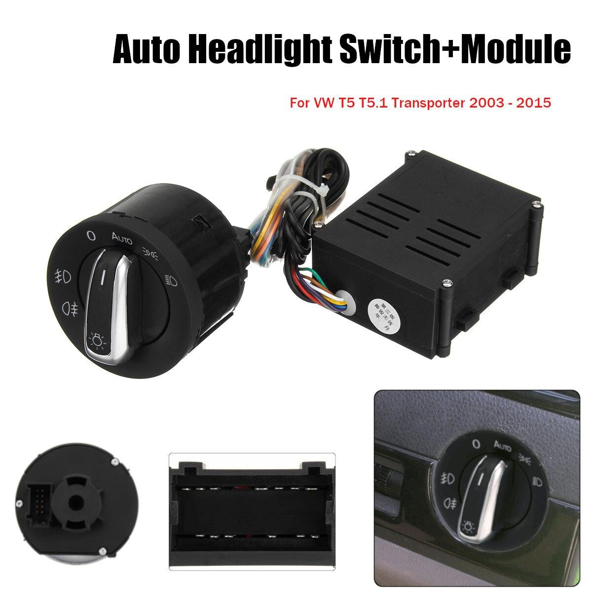 Sensore Fari Auto Auto Faro Interruttore + Modulo di Controllo per VW T5 T5.1 Transporter 2003-2015
