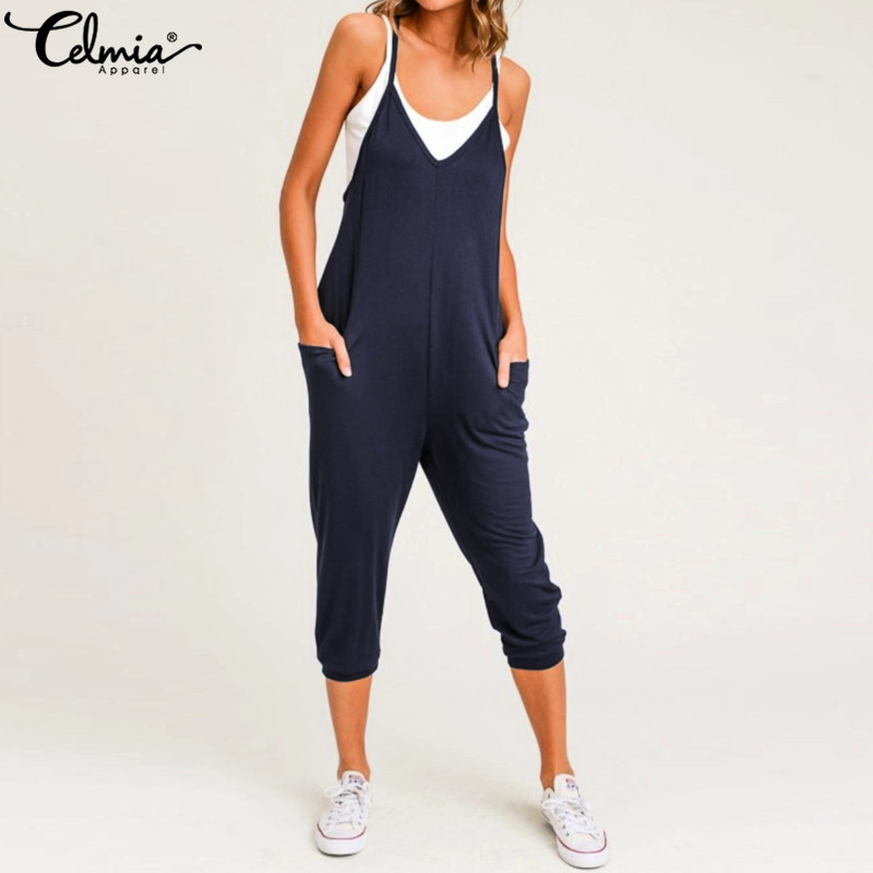 Celmia 2019 Summer Women Jumpsuits Sleeveless Sexy Spaghetti Strap Rompers Casual Loose Harem Pants V-neck Oversized Playsuits