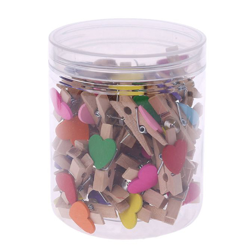 Push Pins With Wooden Clips Heart Pushpins Tacks Thumbtacks For Cork Boards Artworks Notes Photos Craft Projects 50Pcs
