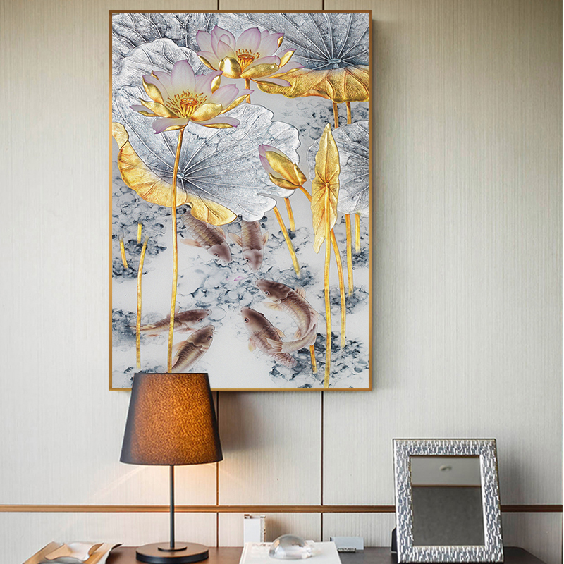 Abstract Gold Lotus Fishes Canvas Painting Modern Poster Art Cuadros New Chinese Style Decor Wall Pictures For Living Room Aisle