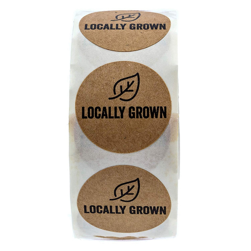 1 Inch Round Natural Kraft Locally Grown Stickers/Grown Local Labels 500 Labels Per Roll