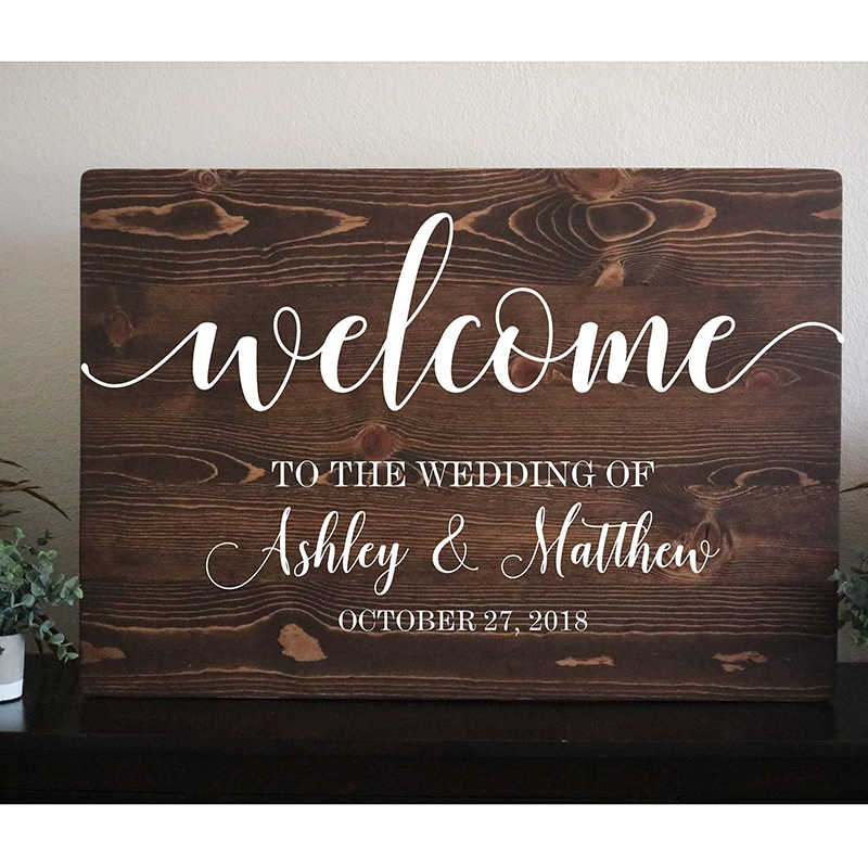 Wedding Sign Wood Welcome Wedding Sign Wood Rustic Wooden
