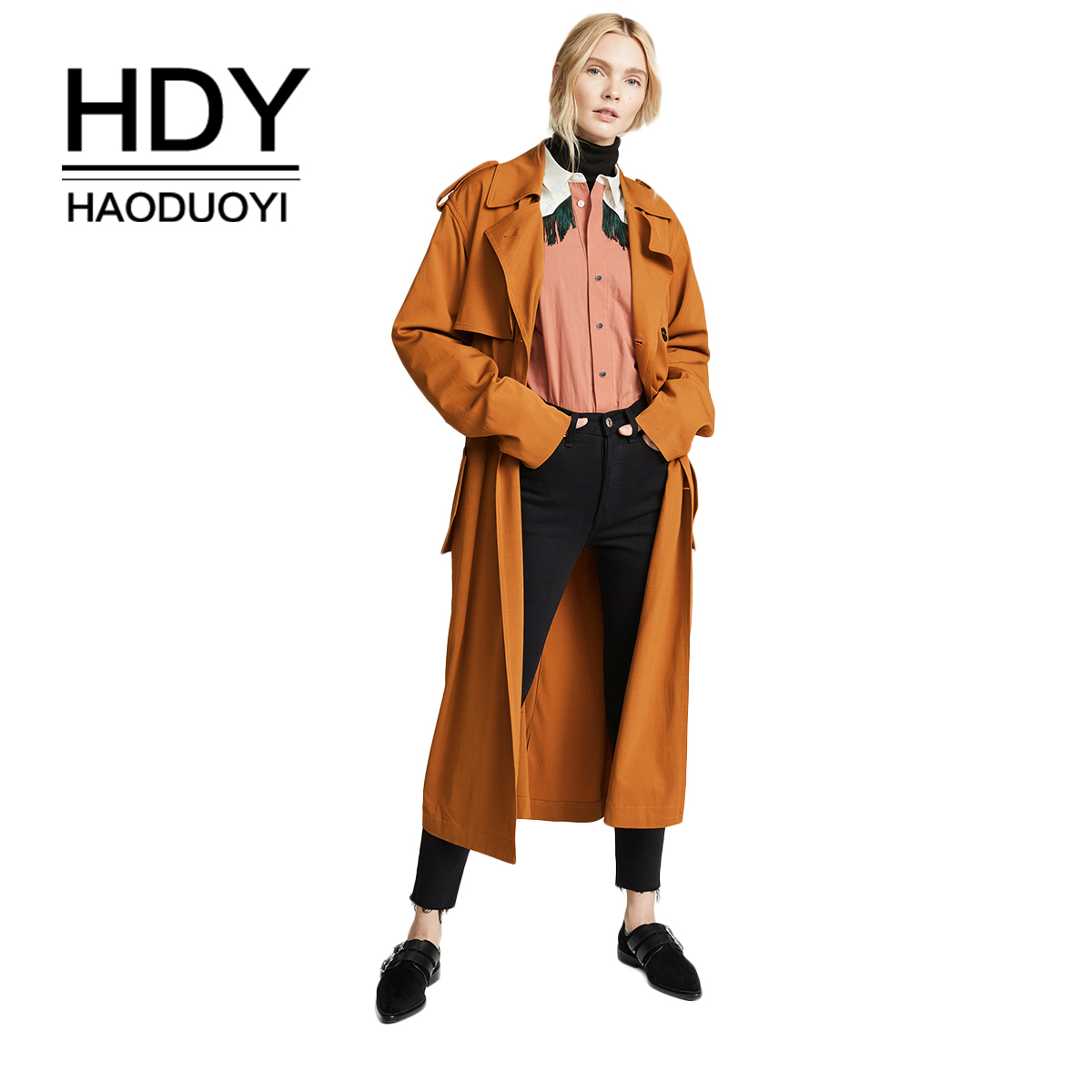 HDY Haoduoyi New Classic European   Trench   Coat Temperament double-breasted Side Zip Women Pea Coat real photos