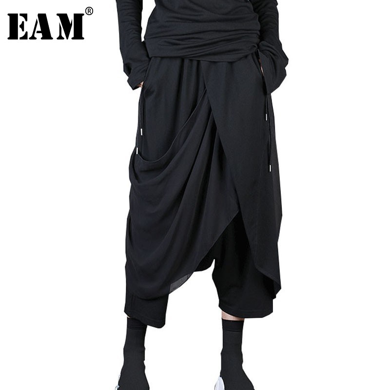 [EAM] 2019 New Spring Summer High Elastic Waist Black Chiffon Spli Joint Irregular Harem Pants Women Trousers Fashion Tide JL915