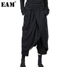 [EAM] 2020 새로운 봄 가을 높은 탄성 허리 블랙 쉬폰 sply 공동 불규칙한 하렘 바지 여성 바지 패션 조수 JL915