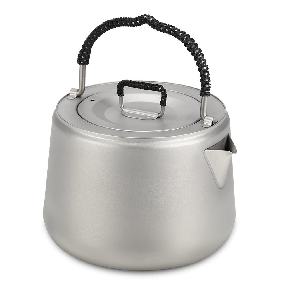 1 4L Ultralight Titanium Water Kettle Coffee Pot Titanium Tea Pot Hiking Picnic Teapot Outdoor Tableware