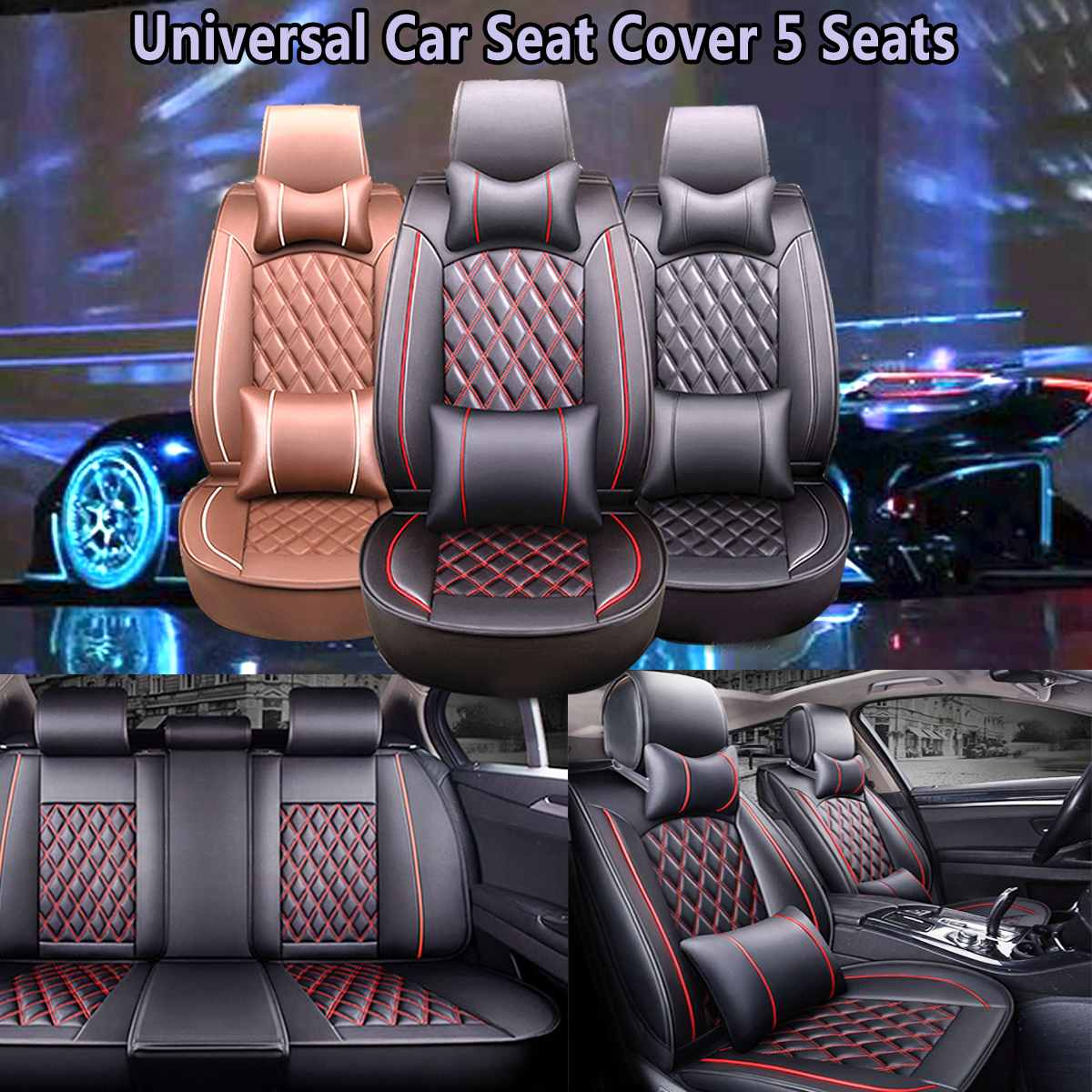 Universal Car 5 Seat Covers PU Leather Cotton Seat Cushion Protection Covers For Honda/VW/Toyota
