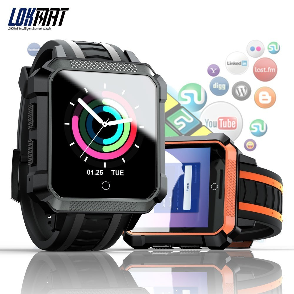 цена LOKMAT 4G Smart Watch Men Android Phonewatch IP67 Waterproof Sport SmartWatch GPS Heart Rate Monitor 5.0MP HD Camera for ios