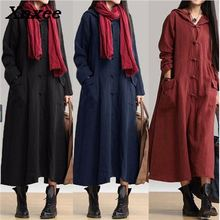Autumn winter women long dress vintage casual loose maxi cardigan dress with hooded long sleeve cotton linen dresses plus size hooded long sleeve dress