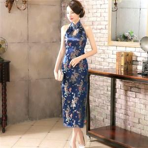 Image 2 - 16 צבע ללא משענת סיני Qipao שמלות שרוולים ארוכים ורוד הלטר למתוח Cheongsam זהב אלגנטי שמלת נשים Guzheng בתוספת גודל