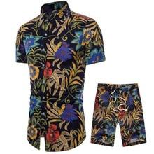 19Mens 付き花シャツセット春カジュアルシャツベルト付きショーツアンサンブル半袖花シャツ M  5XL