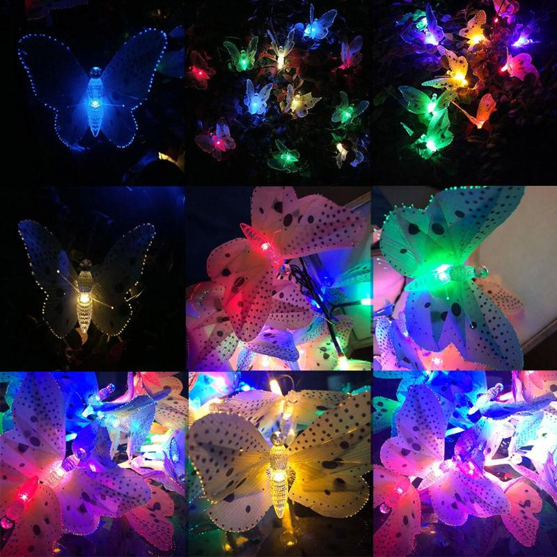 New 12 LEDs Solar Powered Butterfly Optic Fairy String Waterproof Festival Party Outdoor Garden Holiday Lights