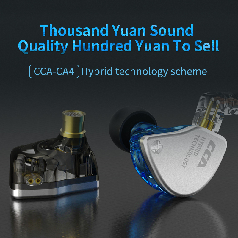 CCA CA4 1DD 1BA In Ear Earphones Monitor Metal Hybrid Technology Hifi Bass Earbuds Sport Noise Cancelling Headset in Phone Earphones Headphones from Consumer Electronics