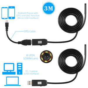 Image 5 - OWSOO 6 LEDs Borescope 5.5MM USB endoskop 3M kablo probu su geçirmez muayene Borescope USB yılan tüp kamera OTG uyumlu