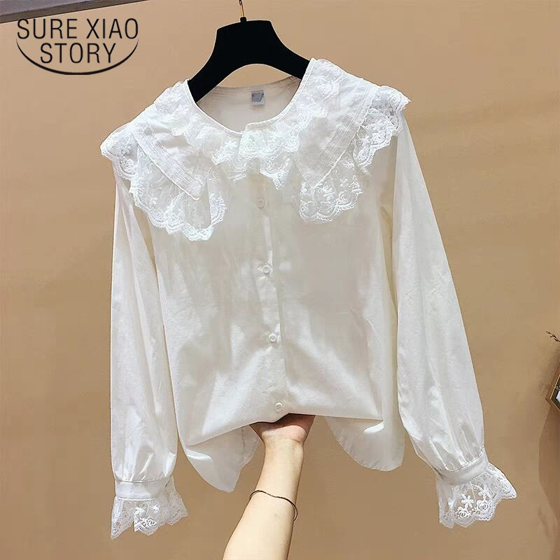 Women 2019 spring   blouse   white   shirt   long sleeve cotton womens tops and   blouses   lace causal women   shirts   fashion blusas 2155 50