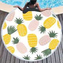 Pineapple Beach towel Toalla Playa Toalha De Praia Toalla Playa Grande Bath Towels for Adult Round Beach Towel Microfibre Towel 2019 geometric patterns summer round beach towel with tassels beach covers bath towel picnic yoga mat for adult toalla de playa