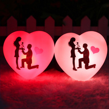 1 Pcs LED Colorful Heart Shape Small Night Light Lover Propose Wedding Surprise Arranging Decor Props Valentines Day Gift