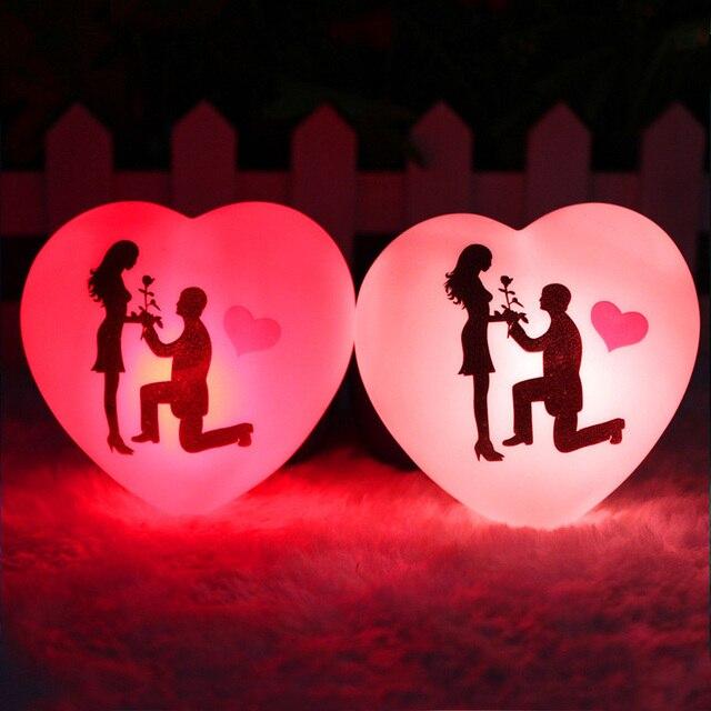 1 pçs led colorido coração forma pequena noite luz amante propor casamento surpresa organizando decoração adereços dia dos namorados presente