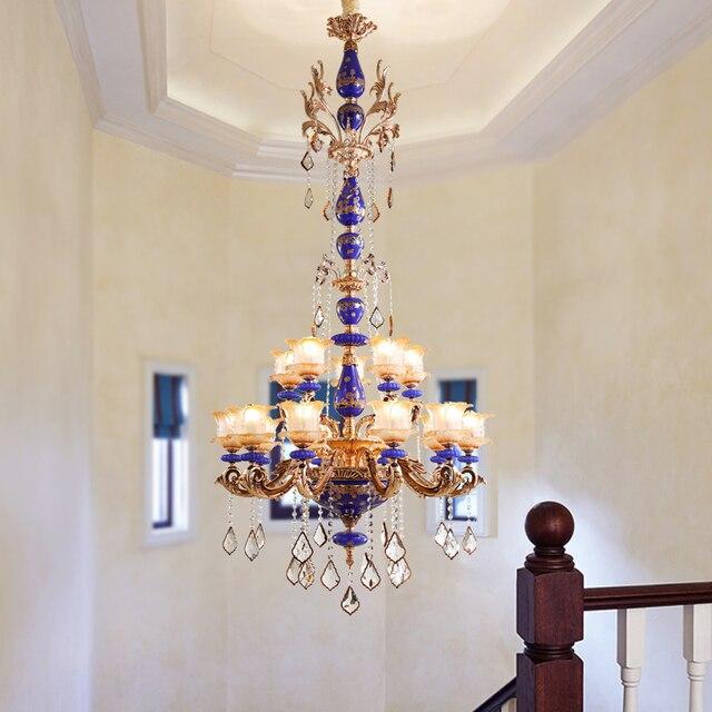 Large Hotel Ceramic Chandelier Crystal pendant Lighting Vintage Lamp Chandelier Art Deco Hanging ceiling Chandelier for Banquet