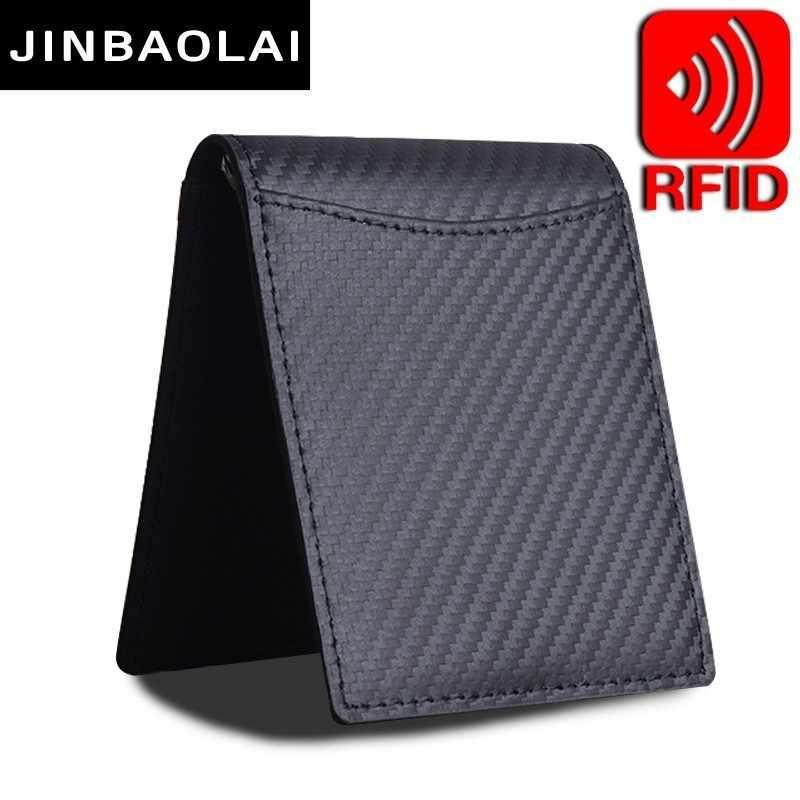 RFID Bloqueio de alta Qualidade Homens de Moda Fina Ímã Ferrolho Bifold Money Clip Carteira de Couro ID Crédito Bolsa Homens Marca Masculina carteiras