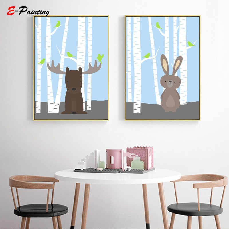 Лесное животное милый кролик настенное искусство для маленьких мальчиков Детский постер с принтом коричневый кролик холст живопись ребенок спальня декор