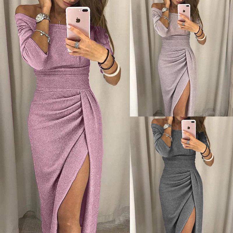 Meihuida Women Off Shoulder Bodycon Dress Split Maxi Dress Party Evening Gown Wear Jupe Femme Faldas Mujer